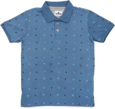 WROGN Printed Boy's Polo Neck Blue T-Shirt
