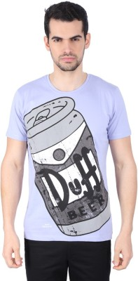 Simpsons Graphic Print Men's Round Neck Purple T-Shirt