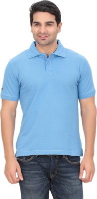 Indian Engineer Solid Men's Polo Neck Blue T-Shirt