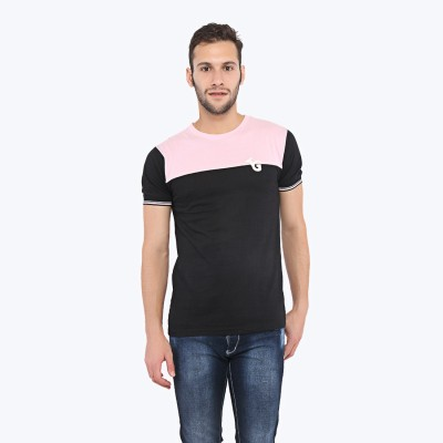 Triplegrass Applique Men's Round Neck Pink T-Shirt