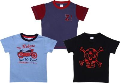 Bio Kid Printed Boy's Round Neck Grey, Blue, Black T-Shirt