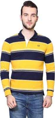 Van Heusen Striped Men's Polo Neck Yellow T-Shirt