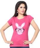 Prova Solid Women's Round Neck Pink T-Sh...