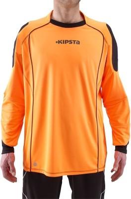 Kipsta Solid Boy's Round Neck Orange, Black T-Shirt