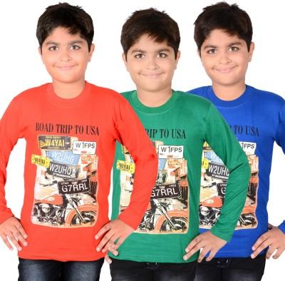 Aedi Solid Boy's Round Neck Red, Green, Blue T-Shirt
