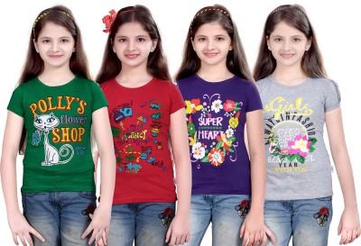 sinimini Printed Girl's Round Neck Green, Pink, Purple, Silver T-Shirt