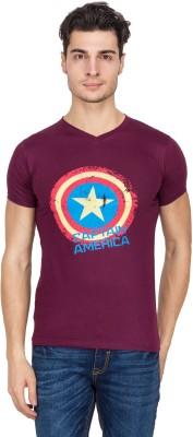 Vidyuth Traders Printed Men's V-neck Maroon T-Shirt