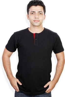 Evermore Stores Solid Men's Henley Black, Red T-Shirt