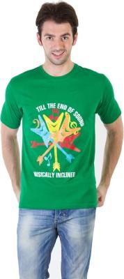 RICK AND MASCH Printed Men's Round Neck Green T-Shirt