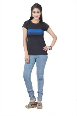 Prova Striped Women's Round Neck Blue T-Shirt