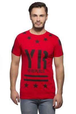 Yo Republic Printed Men's Round Neck Red T-Shirt