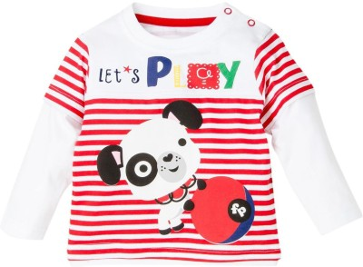 Fisher-Price Striped Baby Boy's Round Neck Multicolor T-Shirt