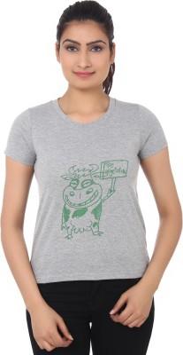 TshirtVilla Printed Women's Round Neck Grey T-Shirt