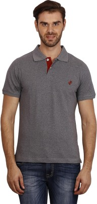 Crush on Craze Solid Men's Polo Neck Grey T-Shirt