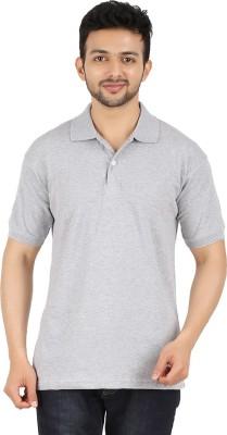 Garudaa Garments Solid Men's Polo Neck Grey T-Shirt