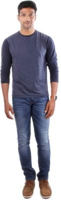 Indian Terrain Solid Men's Round Neck Blue T-Shirt