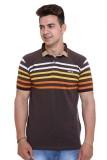 UNEX Striped Men's Flap Collar Neck Brow...