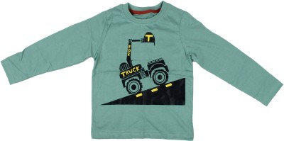 Parv Collections Printed Boy,s Round Neck Green T-Shirt