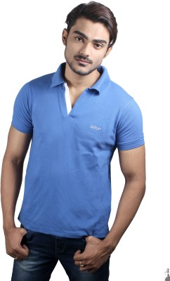 Spur Solid Mens Polo Neck Blue T-Shirt