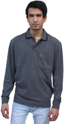 Romano Solid Men's Polo Neck Grey T-Shirt