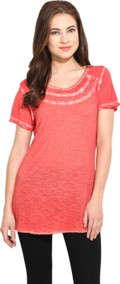 Free & Young Solid Women's Round Neck Orange T-Shirt