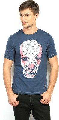 In The Closet Printed Men's Round Neck Blue T-Shirt