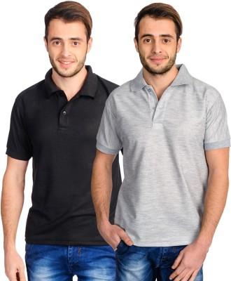 Superjoy Solid Men's Polo Neck Black, Grey T-Shirt