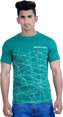 Parv Collections Printed Men's Round Neck Green T-Shirt