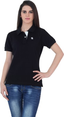 The Cotton Company Solid Women's Polo Neck Black T-Shirt
