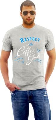 Monzter Popcornz Graphic Print Men's Round Neck Grey T-Shirt