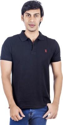 X-Tint Solid Men's Polo Neck Black T-Shirt