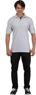 Aqua Solid Men's Polo Neck Grey T-Shirt