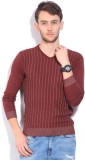Integriti Self Design Men's V-neck Maroo...