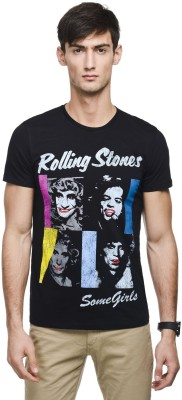 Rolling Stone Printed Men's Round Neck Black T-Shirt