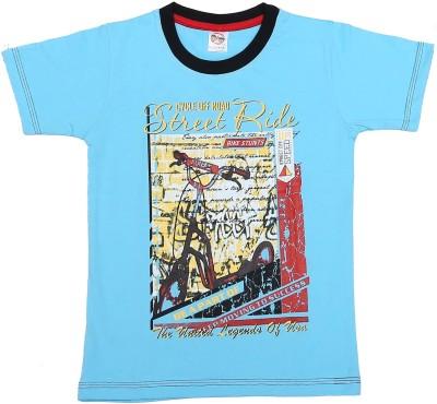 Kyle Graphic Print Baby Boy's Round Neck Light Blue T-Shirt