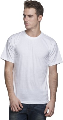Lambency Solid Men's Round Neck White T-Shirt
