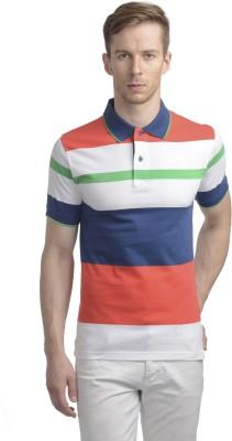 WRIG Striped Men's Polo Neck Multicolor T-Shirt