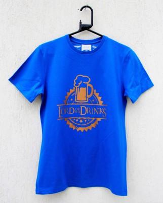 ENWE Graphic Print Men's Round Neck Blue T-Shirt