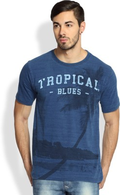 Difference Of Opinion Printed Men's Round Neck Blue T-Shirt