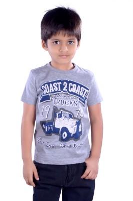 Colsa Graphic Print Boy's Round Neck Grey T-Shirt