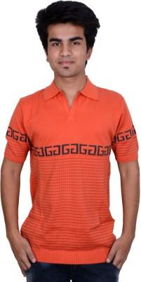 Being Dessi Solid Men's Flap Collar Neck Orange T-Shirt