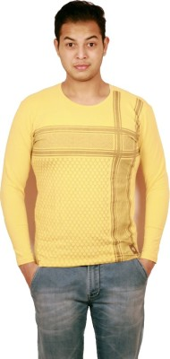 Etyhas Collections Printed Men's Round Neck Yellow T-Shirt