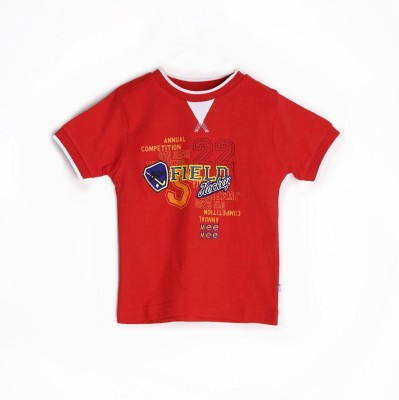 Mee Mee Graphic Print Boy's Round Neck Red T-Shirt