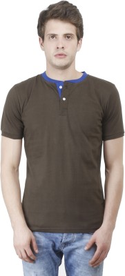 Bonzer Fashion Solid Men's Henley Dark Green, Light Blue T-Shirt