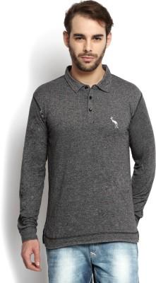 Kingaroo Solid Men's Polo Neck Grey T-Shirt