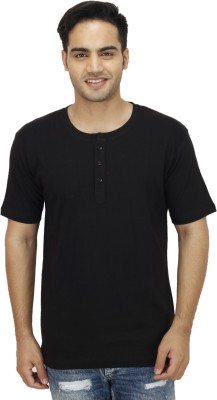 Rakshita Collection Solid Men's Henley Black T-Shirt