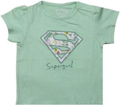 Big Tree Printed Baby Girl's Round Neck Green T-Shirt