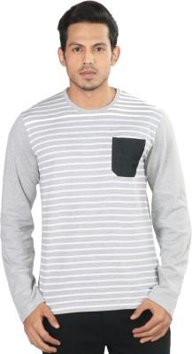 Provogue Striped Men's Round Neck Grey T-Shirt