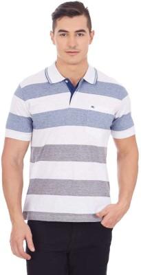 Monte Carlo Striped Men's Polo Neck White, Blue T-Shirt