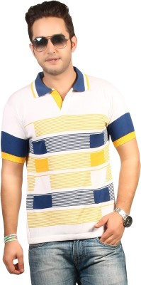 Everyuth Striped Men's Polo White T-Shirt